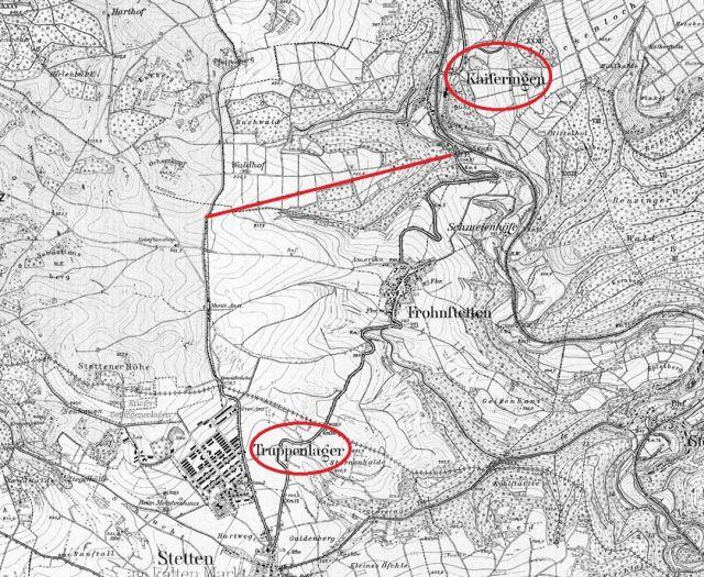 Karte 1918 von 7820Winterlingen Heuberg Standseilbahn von Kaiseringen auf die Albhochfläche eingezeichnet__