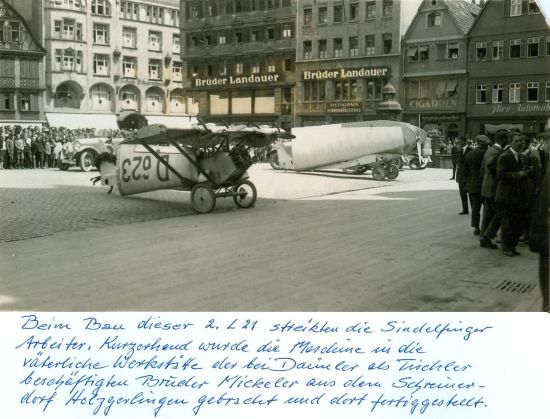 2 Deutscher Rundflug 1925 Daimler L21 D-623 Stuttgart Marktplatz