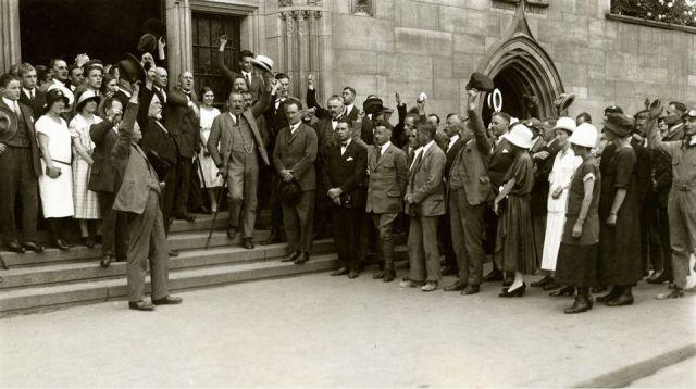 6 Deutscher Rundflug 1925 Empfang Stg Rathaus Lautenschlager (OB) Loerzer, Siebel, Schrenk, Klemm (HdG)