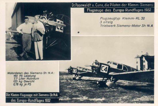 Europa-Rundflug 1932 Klemm Pasewald und Cuno)