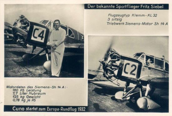 Europa-Rundflug 1932 Klemm Siebel Cuno