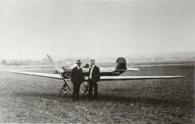 Fliegerschule Klemm-Flug Hanns Klemm mit Fluglehrer Hermann Weller Klemm L22 1928 (HdG)