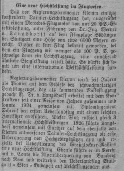 Libausche Zeitung 1927-03-28 Klemm L20