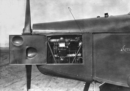 SI Neg. 2004-22974. Date: na. Engine compartment door open on a Aeromarine-Klemm, Credit: unknown (Smithsonian Institution)
