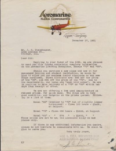 Aeromarine-Klemm Brief 1931-12-17