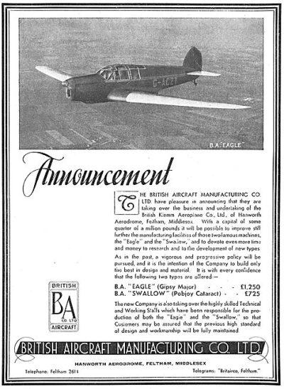 British Aircraft EAGLE SWALLOW (Flight April 18th 1935)
