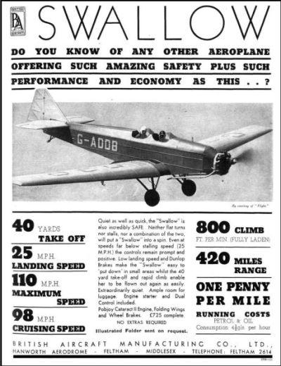 British Aircraft SWALLOW 1936-1