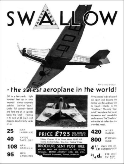 British Aircraft SWALLOW 1937-1