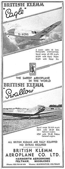 British Klemm EAGLE SWALLOW Flight Nov 22nd 1934