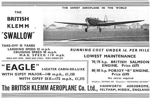 British Klemm EAGLE SWALLOW (PopularFlying July 0 1934)