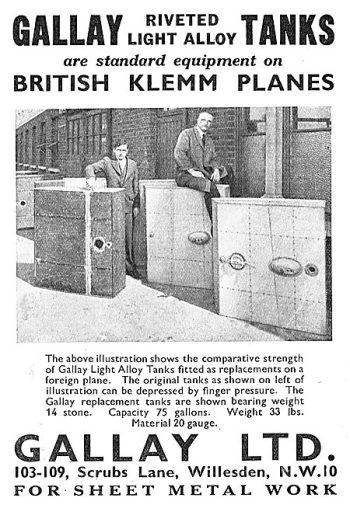 British Klemm Tanks (Aeroplane October 31st 1934)
