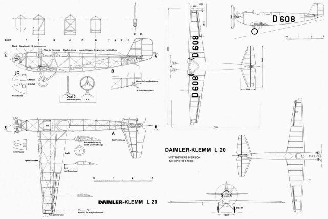 Daimler-Klemm L20 Strichzeichnung