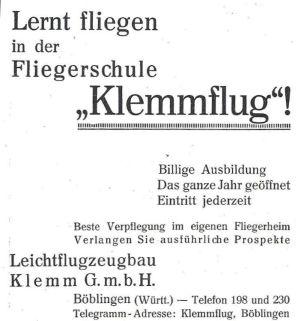 Fliegerschule Klemm-Flug
