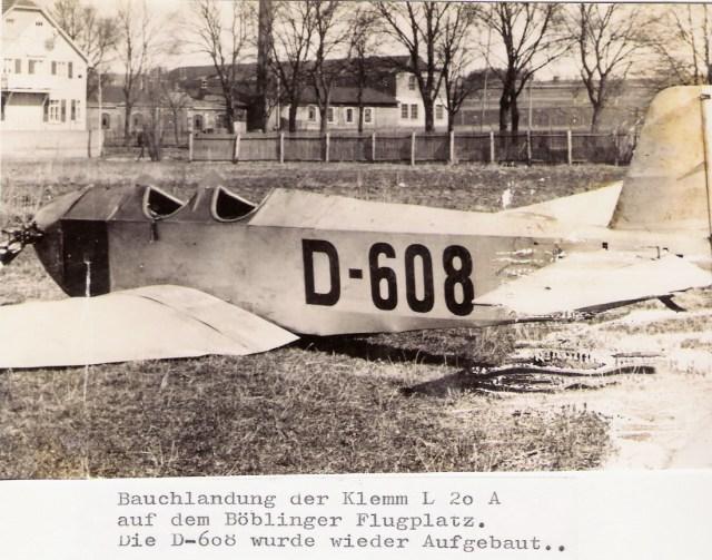 Klemm-Daimler L20 D-608 BB Bauchlandung