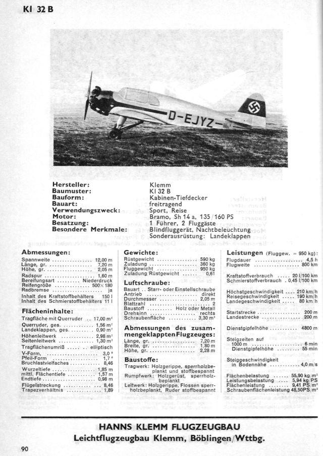 Klemm KL32 Typenblatt D-E