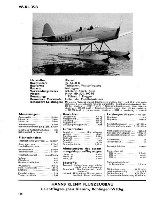 KLemm WKL35B Hirth HM504