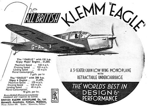 British Klemm EAGLE (Aeroplane January 9th 1935)